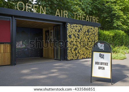 LONDON, UK - JUNE 6TH 2016: The entrance to the Open Air Theatre in Regents Park, London on 6th June 2016.