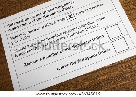 LONDON, UK - JUNE 13TH 2016: The EU Referendum Ballot Paper - a chance for the UK to vote on if they would like to remain in the European Union or Leave the European Union, taken on 13th June 2016.