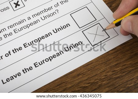 LONDON, UK - JUNE 13TH 2016: The EU Referendum Ballot Paper, with a cross next to the option for the UK to Leave the European Union, taken on 13th June 2016.