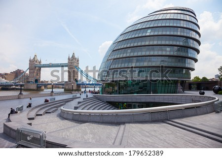 London, UK-June 7, 2009:The City Hall is the headquarters of the Greater London Authority. It is located on the River Thames near Tower Bridge. It was designed by Norman Foster and opened in July 2002 - stock photo