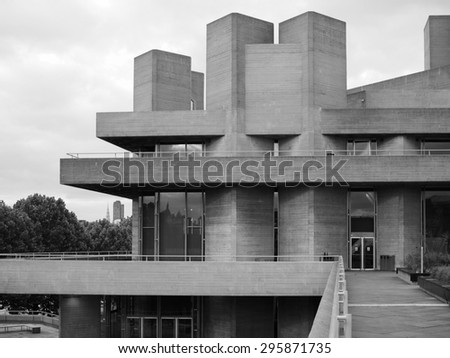 LONDON, UK - JUNE 09, 2015: The National Theatre designed by Sir Denys Lasdun is a masterpiece of new brutalist architecture in black and white - stock photo