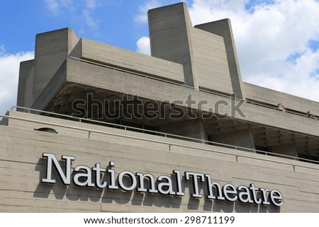LONDON, UK - JUNE 16, 2015: The National Theatre designed by Sir Denys Lasdun is a masterpiece of new brutalist architecture - stock photo