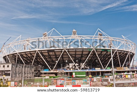 LONDON, UK-JUNE 5: The Olympic Stadium Under Construction Ready For The 2012 Olympic Games Which Will Be Held In The City Of London, June 5, 2010, London, UK - stock photo