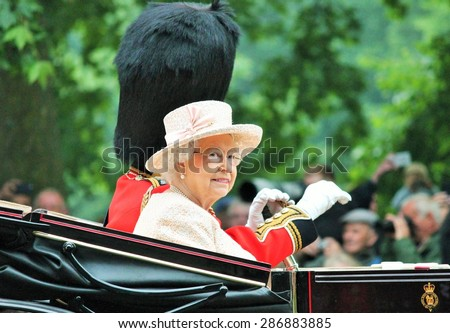 LONDON, UK - JUNE 13: The Royal Family appears during Trooping the Colour ceremony, on June 13, 2015 in London, England, UK - stock photo