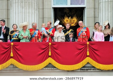 LONDON, UK - JUNE 13: The Royal Family appears on Buckingham Palace balcony during Trooping the Colour ceremony, also Prince Georges first appearance on balcony, on June 13, 2015 in London - stock photo