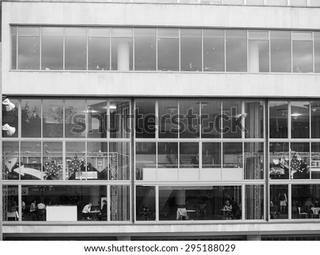 LONDON, UK - JUNE 09, 2015: The Royal Festival Hall built as part of the Festival of Britain national celebrations in 1951 is still in use as a major music and entertainment venue in black and white - stock photo