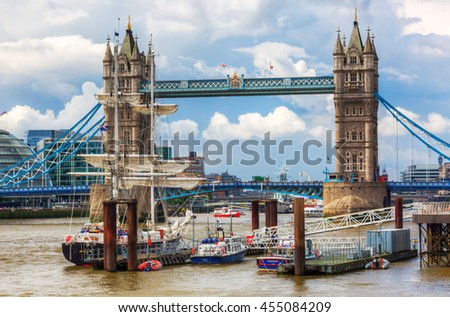 London, UK - June 15, 2016: Tower Bridge in London. The bridge spanning the river Thames is a combined bascule and suspension bridge in London built in 1886 - 1894 - stock photo