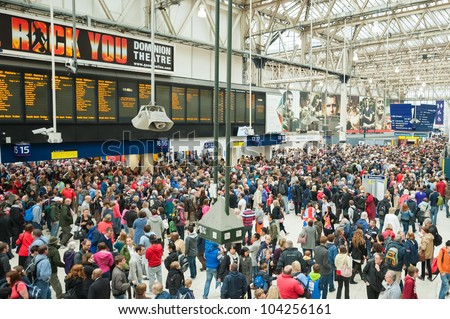 LONDON, UK - JUNE 3:  Transport chaos at Waterloo Station as up to one million people arrive for the Queen Elizabeth II Diamond Jubilee celebrations in London, UK on June 3, 2012 - stock photo