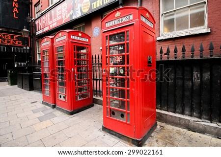 LONDON,UK - JUNE 30 2014 : UK telephone box - stock photo