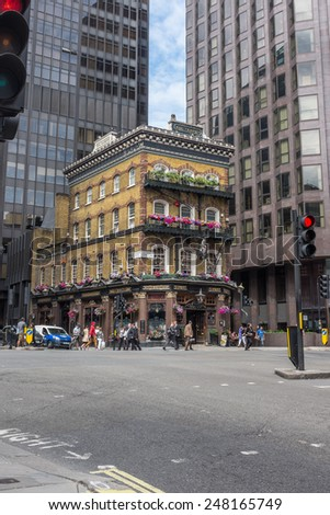"""LONDON, UK - JUNE 26, 2014 : Victorian Grade 2 listed building named """"The Albert"""" is a traditional pub and restaurant in Victoria Street, Westminster, central London.  - stock photo"""