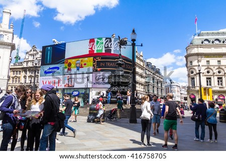 LONDON , UK - JUNE 7, 2015: View of Piccadilly Circus, road junction, built in 1819, famous tourist attraction, links to West End, Regent Street, Haymarket, Leicester Square - stock photo