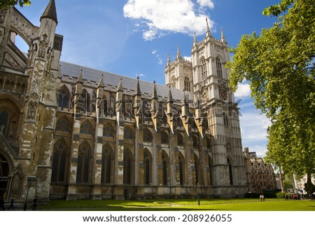 LONDON, UK - JUNE 14, 2014: Westminster abbey, view form the park - stock photo