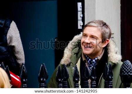 LONDON, UK - MAR 15: Martin Freeman spotted filming 'Sherlock' in London on the MAR 15, 2013 in London, UK - stock photo