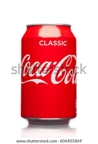 LONDON,UK - MARCH 21, 2017 : A can of Coca Cola drink  on white background. The drink is produced and manufactured by The Coca-Cola Company.