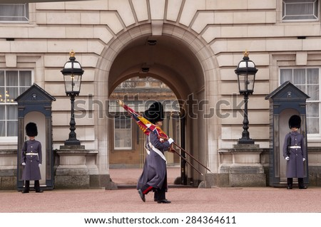 London, UK - March 17, Buckingham Palace, Changing of the guard at Buckingham Palace, Parade in winter gray uniform. March 17.2015 in London