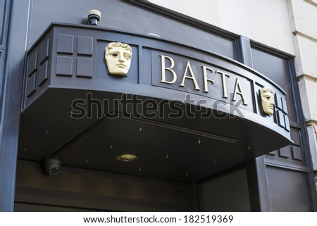LONDON, UK - MARCH 01: Detail of BAFTA entrance in Piccadilly. The institution awards and supports film, television and video games industry achievements. March 01, 2014 in London. - stock photo