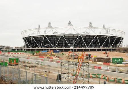 LONDON, UK - MARCH 6, 2011: London 2012 Olympic stadium under construction - stock photo