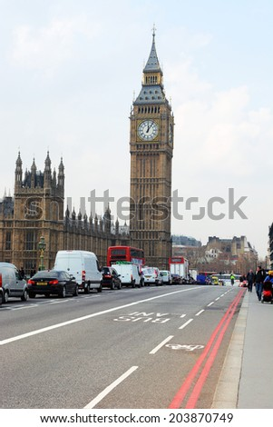 London, UK March 28 2014:  One of London iconic building is Big Ben and House of Parliament located in north end of the Palace of Westminster in London  - stock photo