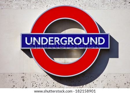 LONDON, UK - MARCH 15TH 2014: London Underground sign on 15th March 2014. - stock photo