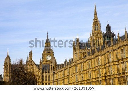 LONDON, UK - MARCH 12TH 2015: The Houses of Parliament in London on 12th March 2015. - stock photo