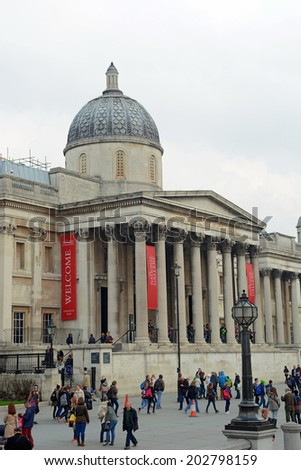 London, UK  March 28 2014: The National Gallery is an art museum in Trafalgar Square in London - stock photo