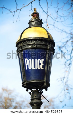 London, UK, March 15, 2009 :  Traditional Victorian blue police lamp situated in The Mall