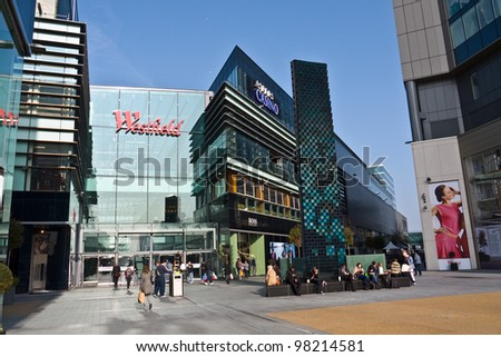 LONDON, UK-MARCH 15: View of Westfield Stratford City, Now the Official Shopping Centre of London 2012. The largest urban shopping centre is adjacent the Olympic park.March 15, 2012 in London UK - stock photo