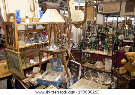 Stock Photo London Uk Antique Display Greenwich Market Famous Place Buy Art Crafts Furniture Store Parts Modern