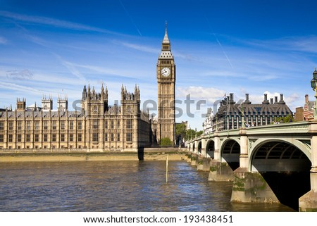 LONDON, UK - MAY 14, 2014: Big Ben, Houses of parliament and Westminster bridge on river Thames