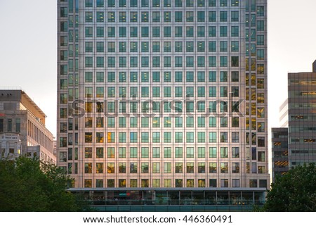 London UK- May 21, 2015:  Canary Wharf Office buildings at sunset, international business and banking aria - stock photo