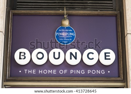 LONDON, UK - MAY 1, 2016: Detail shot of entrance of Bounce bar in High Holborn, the site where John Jaques III invented ping-pong. - stock photo