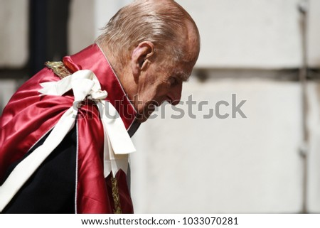 London, UK. 24 May, 2017. His Royal Highness The Duke of Edinburgh accompanies Her Majesty The Queen who's attending a service at St Paul's Cathedral to mark the one hundredth anniversary of the Order