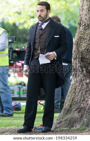 LONDON, UK - MAY 05:Jeremy Piven is spotted filming scenes from UK drama Mr Selfridge in London on the May, 2014 in London, UK - stock photo