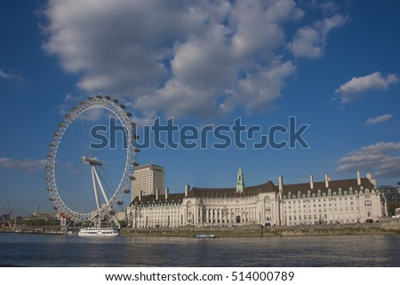 London, Uk - May 5, 2016:London Eye and River Thames