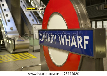LONDON, UK - MAY 14, 2014: London tube, Canary Wharf station, busiest station in London, bringing about 100 000 office workers every day