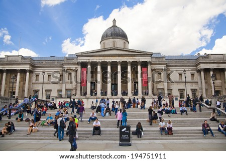 LONDON, UK - MAY 14, 2014 National Gallery and Trafalgar Square with lots of tourists