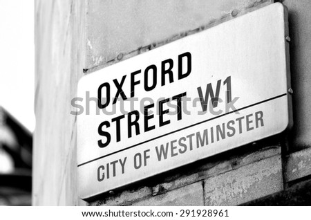 LONDON, UK - MAY 14 2015:Oxford street sign in London England UK.It's EuropeÃ?Â??s busiest shopping street, offering one and a half miles of shops, many of them flagship stores for high-street brands