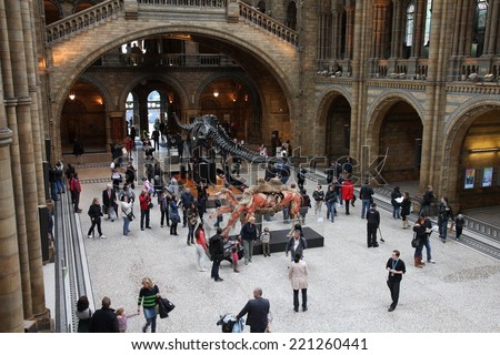 LONDON, UK - MAY 14, 2012: People visit Natural History Museum in London. With more than 4.1 million annual visitors it is the 4th most visited museum in the UK. - stock photo