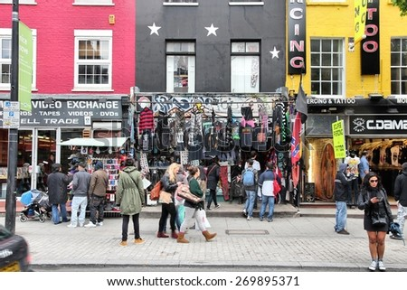 LONDON, UK - MAY 15, 2012: Shoppers visit Camden Town borough of London. According to TripAdvisor, Camden Town currently is one of top 10 shopping destinations in London. - stock photo