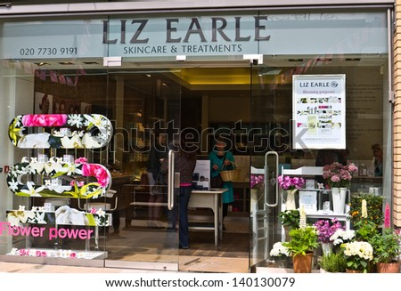 LONDON, UK-MAY 26: Skin care and make up guru, Liz Earle's store decorated for the Chelsea Fringe, celebrating 100 years of the Chelsea Flower Show. May 26, 2013 in London UK. - stock photo