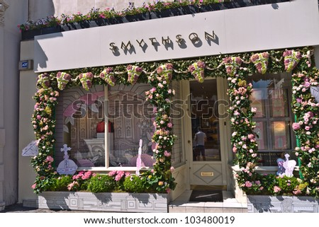 LONDON, UK-MAY 25: Smythson stationers a historic company with four Royal warrants, is decorated in flowers Chelsea in Bloom, which runs alongside the Chelsea Flower Show. May 25, 2012 in London UK. - stock photo