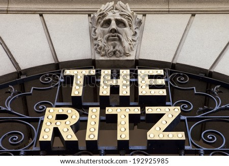 LONDON, UK - MAY 15TH 2014: A sign for the historic Ritz Hotel in London. - stock photo