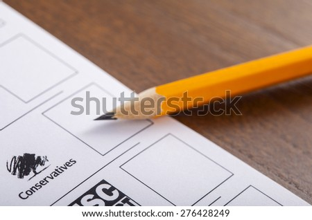 LONDON, UK - MAY 7TH 2015: The Conservative Party on a UK Ballot Paper for a General Election, on 7th May 2015. - stock photo
