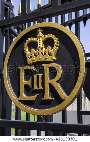 LONDON, UK - MAY 4TH 2016: The Queen Elizabeth II Royal Crest on a gateway at the Tower of London, on 4th May 2016. - stock photo