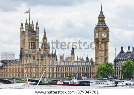 LONDON, UK - MAY 30, 2015: View of Big Ben and the Houses of Parliament in the historic Palace of Westminster. Parliament is home to the Houses of Lords and Commons of the British government.    - stock photo