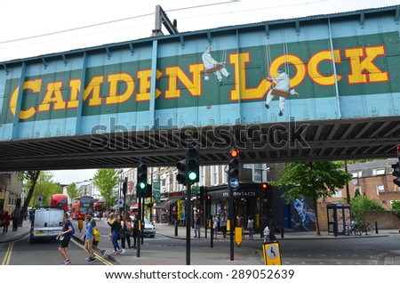 London, UK - May 27: view of Camden Lock sign in London, UK, on May 27, 2015. The sign marks the entrance to the Camden markets known for their vintage and alternative shopping.  - stock photo