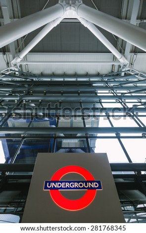 LONDON, UK - MAY 1: View of the famous Underground Logo at Gatwick Airport. Created in 1908 is one of the most iconic images of the city, on May 1, 2015 in London, UK,