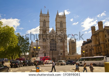 LONDON, UK - MAY 14, 2014: Westminster abbey - stock photo