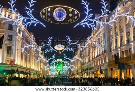 LONDON, UK - NOVEMBER 30, 2014: Black Friday weekend in London the first sale before Christmas. - stock photo