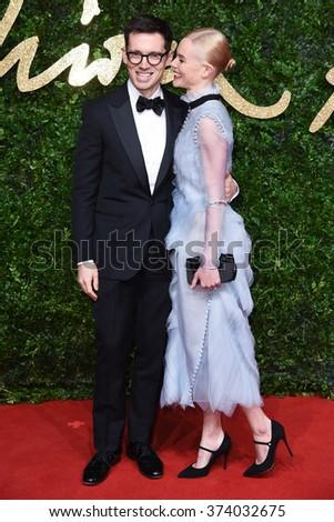 LONDON, UK - NOVEMBER 23, 2015: Erdem Moralioglu & Kate Bosworth at the British Fashion Awards 2015 at the Coliseum Theatre, London. November 23, 2015  London, UK Picture: Steve Vas / Featureflash - stock photo